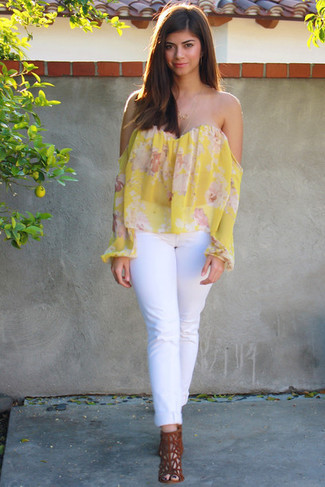 How to wear: tobacco suede heeled sandals, white jeans, yellow floral off shoulder top