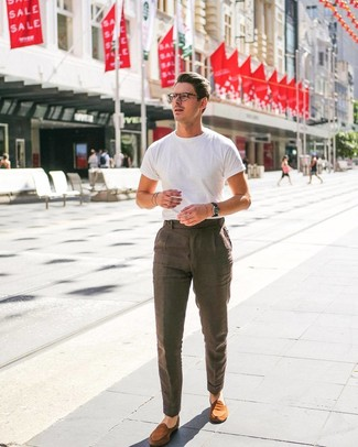 How to wear: tobacco suede loafers, brown linen dress pants, white crew-neck t-shirt