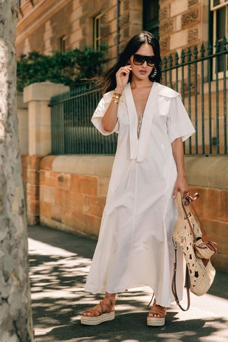 How to wear: dark brown sunglasses, beige straw tote bag, tan leather gladiator sandals, white linen midi dress