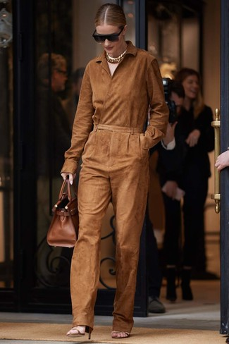 How to wear: black sunglasses, brown leather tote bag, brown leather heeled sandals, tobacco suede jumpsuit
