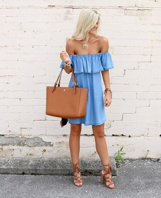 How to wear: gold pendant, tobacco leather tote bag, tobacco fringe suede heeled sandals, light blue denim off shoulder dress