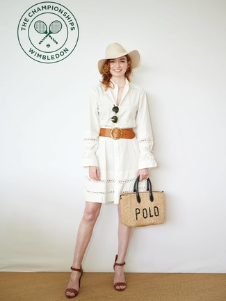How to wear: beige wool hat, tan straw tote bag, brown leather heeled sandals, white eyelet shirtdress