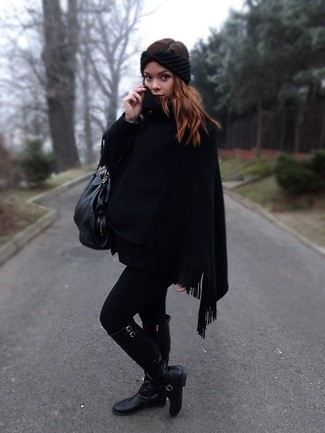How to wear: black knit headband, black leather tote bag, black leather knee high boots, black poncho