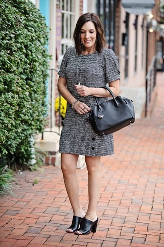 How to wear: silver bracelet, black leather tote bag, black leather mules, grey tweed shift dress