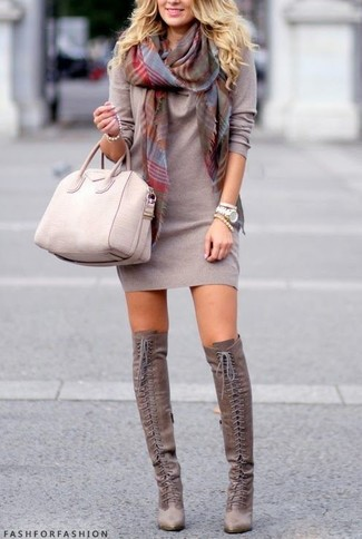 How to wear: grey plaid scarf, beige leather tote bag, grey suede over the knee boots, grey sweater dress