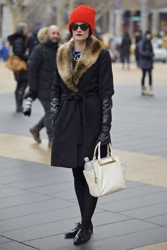 Asymmetric Fur Collar Coat