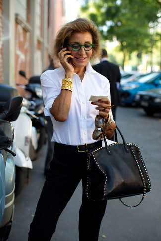 How to wear: black leather belt, black studded leather tote bag, black tapered pants, white dress shirt