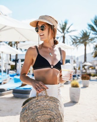 How to wear: beige straw cap, beige straw tote bag, white linen wide leg pants, black bikini top