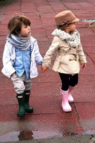 Boys' White Trench Coat, Light Blue Denim Long Sleeve Shirt, Grey Jeans, Dark Green Rain Boots