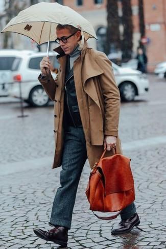 How to wear: brown trenchcoat, black leather biker jacket, grey turtleneck, charcoal wool dress pants