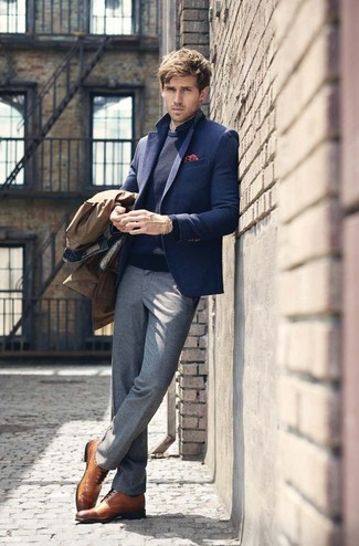 How to wear: brown trenchcoat, navy wool blazer, navy crew-neck sweater, navy polka dot dress shirt