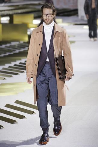 How to wear: tan trenchcoat, dark purple blazer, white turtleneck, navy chinos