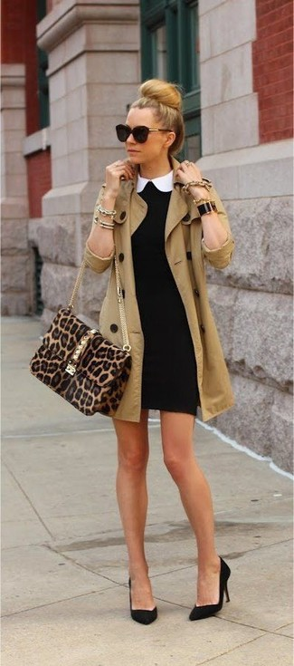 Women's Tan Trenchcoat, Black Bodycon Dress, Black Suede Pumps, Brown Leopard Suede Crossbody Bag