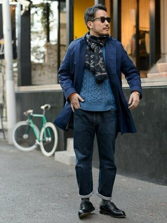 How to wear: navy trenchcoat, blue cable sweater, navy jeans, black leather derby shoes