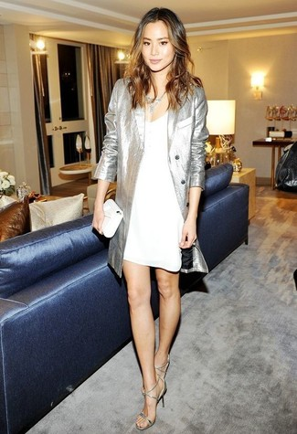 How to wear: silver trenchcoat, white cami dress, silver leather heeled sandals, white leather clutch