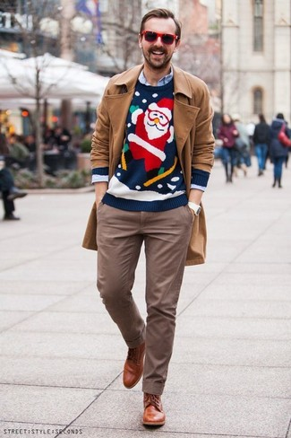 How to wear: tan trenchcoat, navy christmas crew-neck sweater, light blue long sleeve shirt, brown chinos