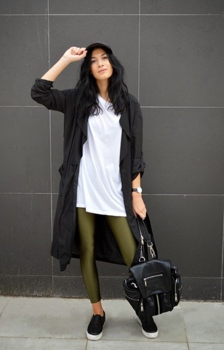 A black trenchcoat and olive leggings are great staples that will integrate perfectly within your current looks. A pair of black leather slip-on sneakers brings the dressed-down touch to the ensemble.