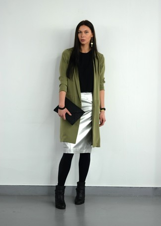 This combination of a Stella McCartney women's Oversized Trench Coat and a silver pencil skirt is very easy to pull together without a second thought, helping you look cute and ready for anything without spending too much time searching through your wardrobe. Look at how well this getup goes with black leather ankle boots. There's nothing like a knockout combo to brighten up a bleak fall day.