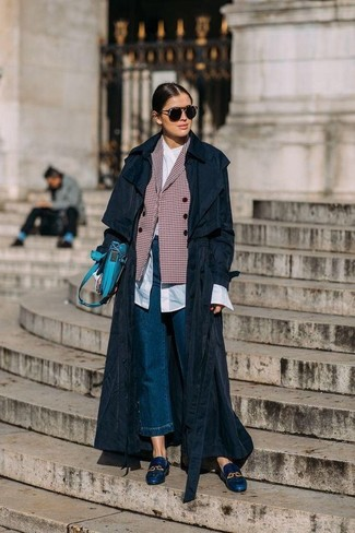 How to wear: black trenchcoat, red check double breasted blazer, white dress shirt, blue denim culottes