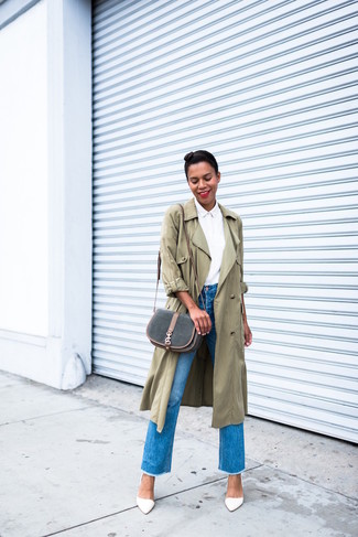 This pairing of a Stella McCartney Oversized Trench Coat and blue fringe jeans is the ideal balance between casual and flirty. Bring instant glamour to your look with white leather pumps. And if you're looking for a killer ensemble that will take you from winter to spring, this one is great.