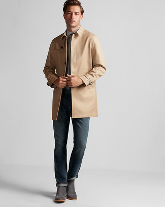 How to wear: tan trenchcoat, light blue dress shirt, navy jeans, charcoal suede chelsea boots