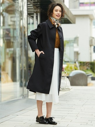 How to wear: black trenchcoat, tobacco dress shirt, white chiffon midi skirt, black leather oxford shoes
