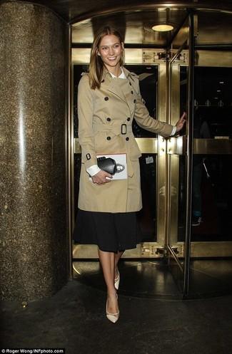 Women's Tan Trenchcoat, White Long Sleeve Blouse, Black Midi Skirt, Beige Leather Pumps