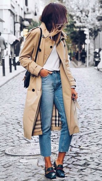 Women's Tan Trenchcoat, White Long Sleeve T-shirt, Light Blue Jeans, Black Leather Loafers