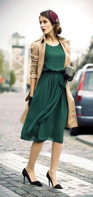 Women's Tan Trenchcoat, Dark Green Chiffon Midi Dress, Black Suede Pumps, Silver Embellished Clutch