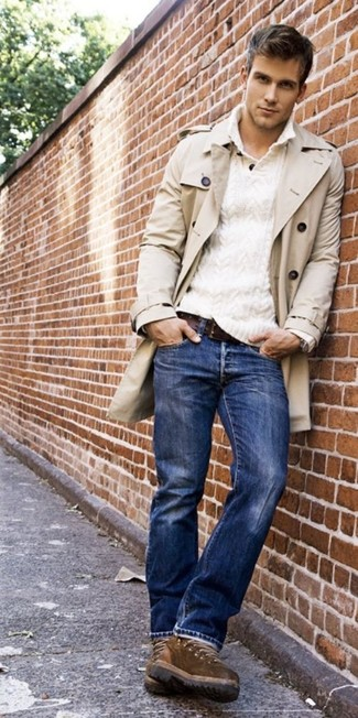 Something as simple as teaming a trenchcoat with blue jeans can potentially set you apart from the crowd. A pair of brown casual boots will seamlessly integrate within a variety of looks. A good illustration of transitional fashion, this ensemble is perfect this spring.