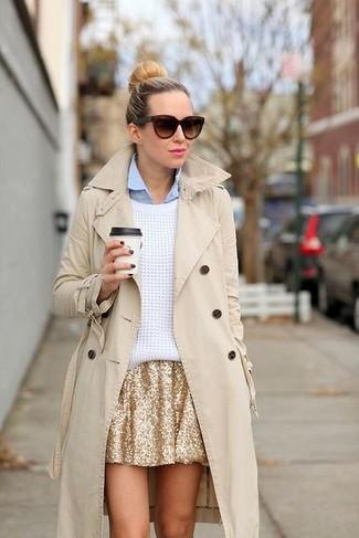 How to wear: beige trenchcoat, white oversized sweater, light blue dress shirt, gold sequin skater skirt