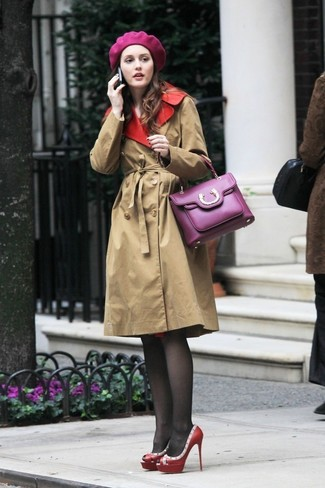 Women's Tan Trenchcoat, Red Studded Leather Pumps, Purple Leather Satchel Bag, Purple Beret