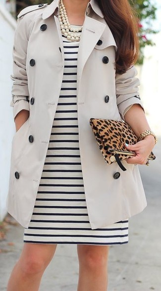 Women's Beige Trenchcoat, Black and White Horizontal Striped Sheath Dress, Brown Leopard Suede Clutch, White Pearl Necklace