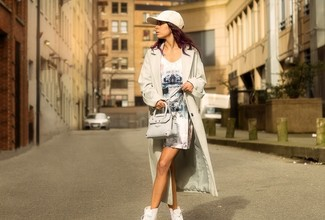 Women's Beige Lightweight Trenchcoat, White Print Sheath Dress, White High Top Sneakers, Beige Leather Crossbody Bag