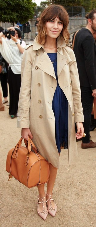 Women's Beige Trenchcoat, Navy Skater Dress, Beige Studded Leather Pumps, Tobacco Leather Satchel Bag