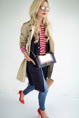 Women's Beige Trenchcoat, Navy Sleeveless Blazer, Red and White Horizontal Striped Long Sleeve T-shirt, Blue Ripped Skinny Jeans
