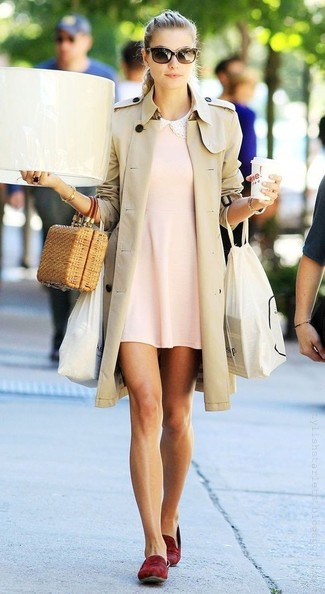 Women's Beige Trenchcoat, Pink Swing Dress, Burgundy Suede Loafers, Tan Straw Clutch