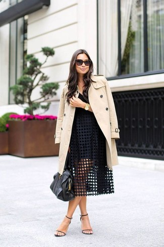 Women's Beige Trenchcoat, Black Tank, Black Eyelet Full Skirt, Black Leather Heeled Sandals