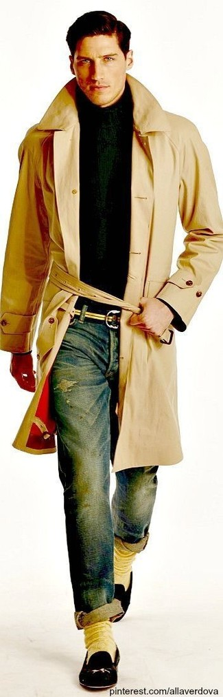 How to wear: tan trenchcoat, dark green turtleneck, blue ripped skinny jeans, black leather loafers