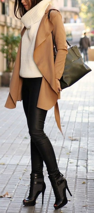 Dress to impress in outerwear and black leather fitted pants. A pair of black cutout leather lace-up ankle boots fits right in here. This ensemble is the definition of perfect for those warm springtime days.