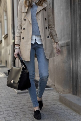 Women's Beige Trenchcoat, Grey V-neck Sweater, White Dress Shirt, Blue Jeans