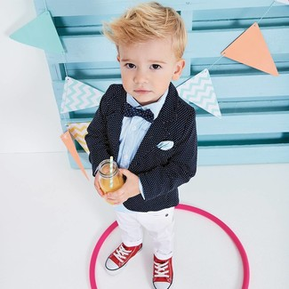 Boys' Looks & Outfits: What To Wear In 2020: Suggest that your munchkin pair a black polka dot blazer with white trousers for a sharp, fashionable look. This getup is complemented perfectly with red sneakers.