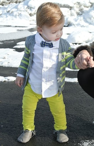 How to Wear Yellow Trousers For Boys: Go for a grey cardigan and yellow trousers for your boy and his cute factor will be off the roof. Grey boots are a wonderful choice to round off this outfit.