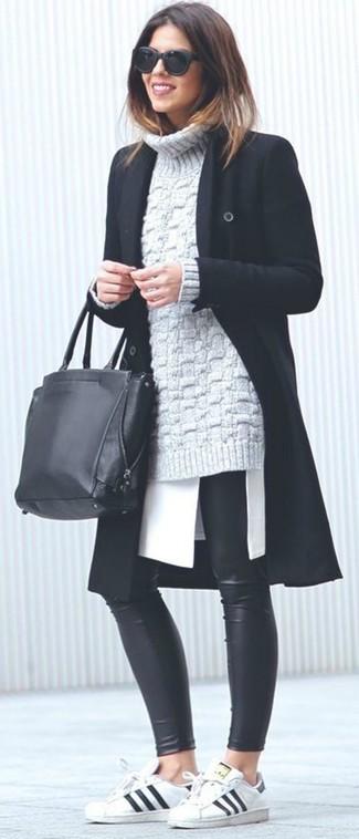 How to wear: black leather leggings, white tunic, grey knit turtleneck, black coat