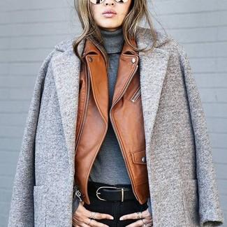 How to wear: black skinny jeans, charcoal turtleneck, brown leather biker jacket, grey coat