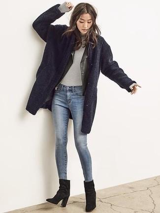 How to wear: blue skinny jeans, grey turtleneck, black leather biker jacket, navy fleece coat