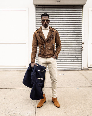 How to wear: beige chinos, beige turtleneck, brown suede biker jacket, navy duffle coat