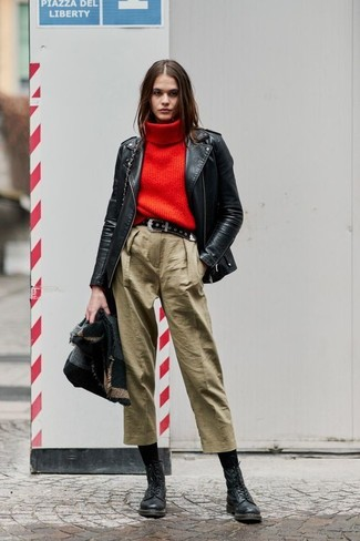 How to Wear a Black Suede Belt For Women: Breathe style into your daily outfit choices with a black leather biker jacket and a black suede belt. You can get a little creative when it comes to shoes and spruce up your getup by finishing off with a pair of black leather lace-up flat boots.