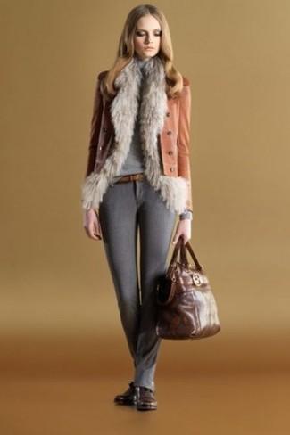 How to wear: charcoal wool skinny pants, grey turtleneck, tobacco leather biker jacket, grey fur vest