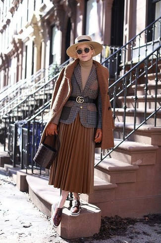 How to wear: tobacco pleated midi skirt, tan turtleneck, brown check wool blazer, tobacco coat